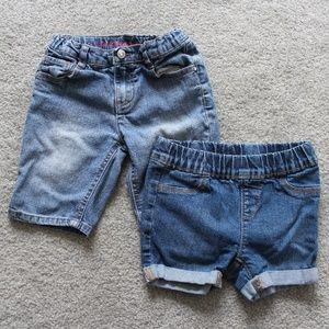 Arizona Jeans Girls Sz 5 Denim Shorts Lot of 2